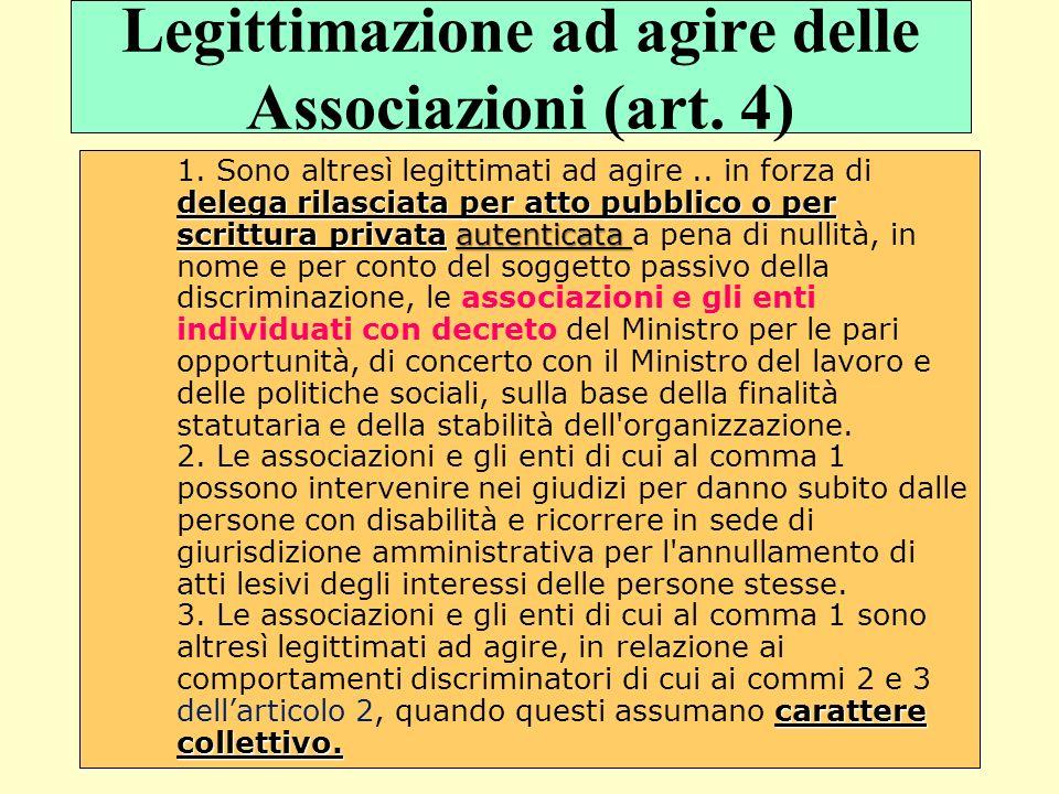 Legittimazione ad agire delle Associazioni (art. 4) delega rilasciata per atto pubblico o per scrittura privataautenticata carattere collettivo. 1. So