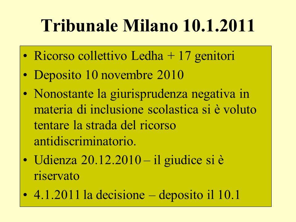 Tribunale Milano 10.1.2011 Ricorso collettivo Ledha + 17 genitori Deposito 10 novembre 2010 Nonostante la giurisprudenza negativa in materia di inclus