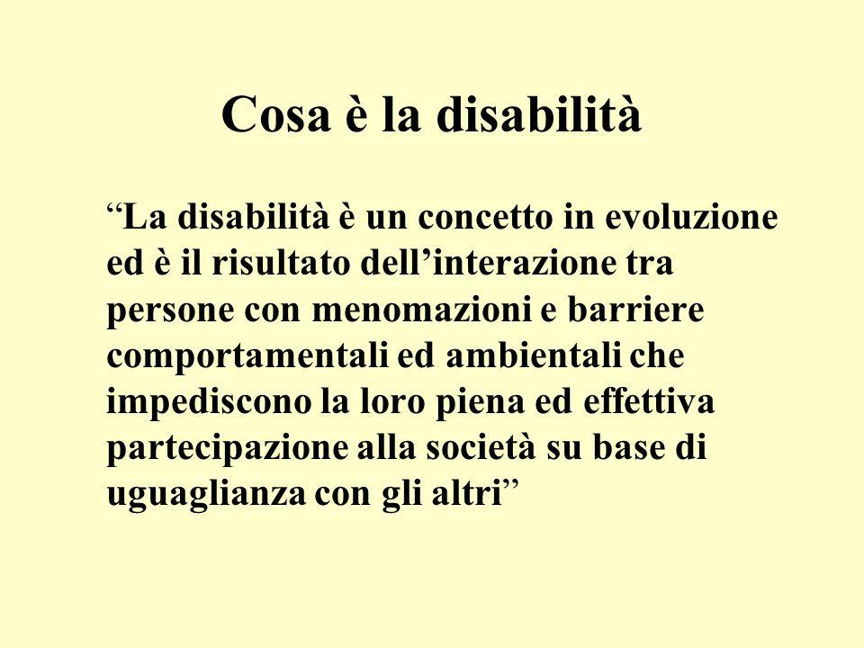 Cosa è la disabilità La disabilità è un concetto in evoluzione ed è il risultato dellinterazione tra persone con menomazioni e barriere comportamental
