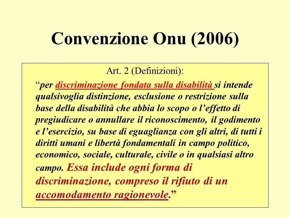 Convenzione Onu (2006) Art. 2 (Definizioni): accomodamento ragionevoleper discriminazione fondata sulla disabilità si intende qualsivoglia distinzione