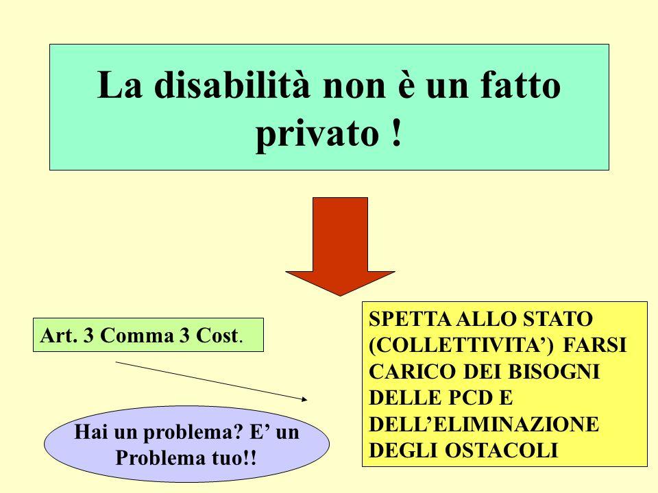 La disabilità non è un fatto privato ! Art. 3 Comma 3 Cost. SPETTA ALLO STATO (COLLETTIVITA) FARSI CARICO DEI BISOGNI DELLE PCD E DELLELIMINAZIONE DEG