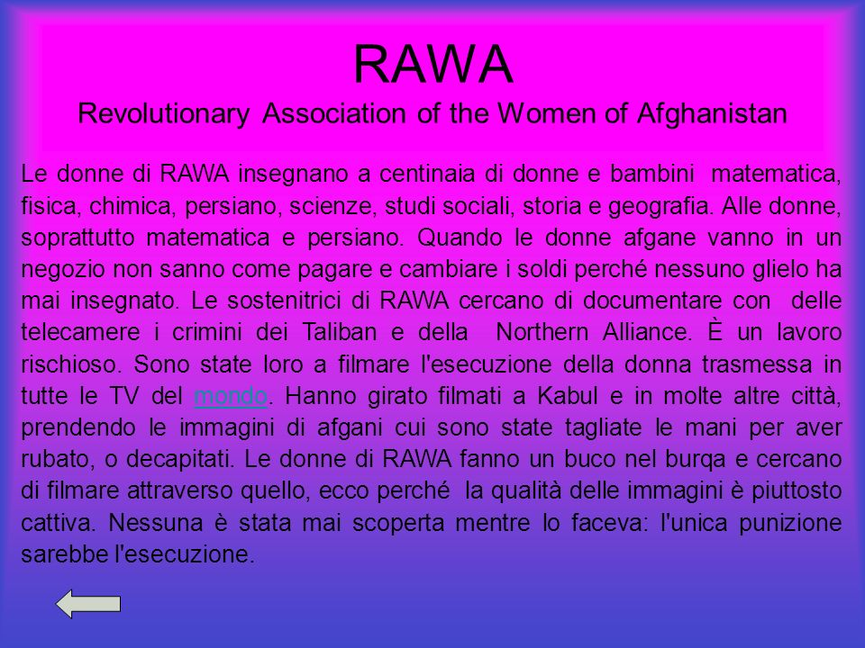 RAWA Revolutionary Association of the Women of Afghanistan Le donne di RAWA insegnano a centinaia di donne e bambini matematica, fisica, chimica, pers
