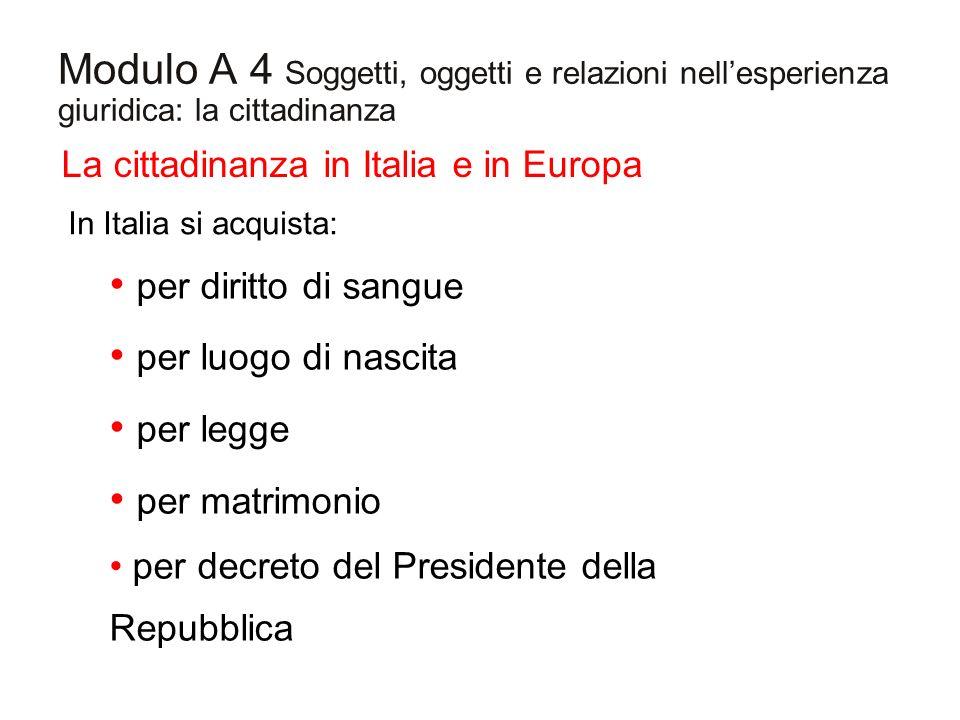 Modulo A 4 Soggetti, oggetti e relazioni nellesperienza giuridica: la cittadinanza La cittadinanza in Italia e in Europa In Italia si acquista: per di