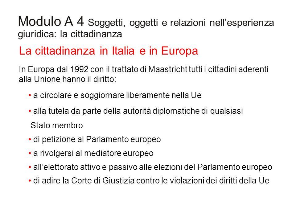 Modulo A 4 Soggetti, oggetti e relazioni nellesperienza giuridica: la cittadinanza La cittadinanza in Italia e in Europa In Europa dal 1992 con il tra