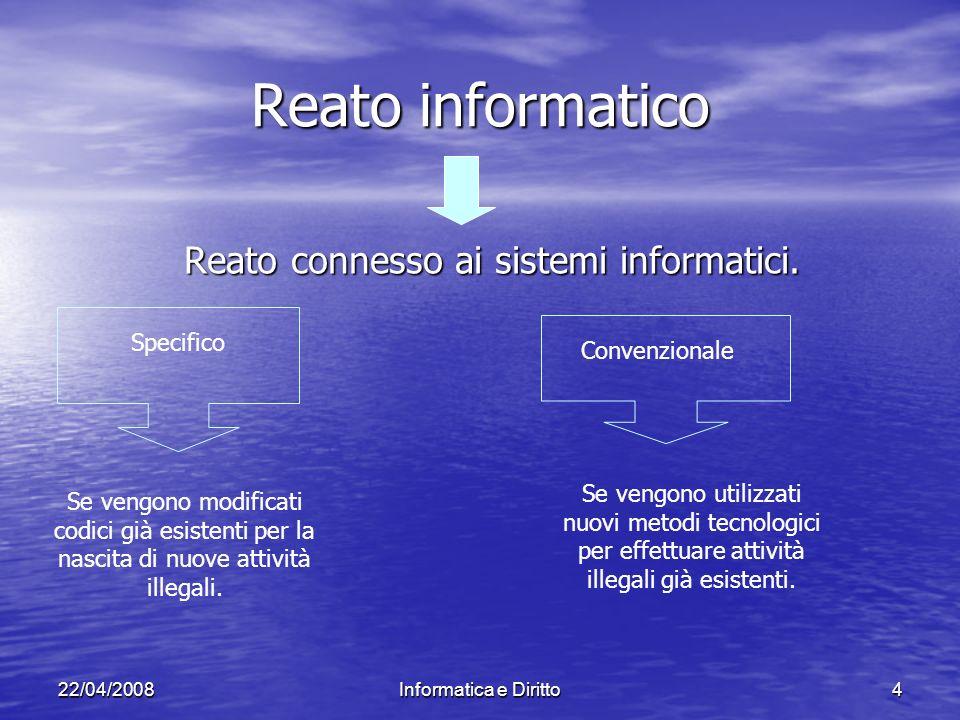 22/04/2008Informatica e Diritto4 Reato informatico Reato connesso ai sistemi informatici.