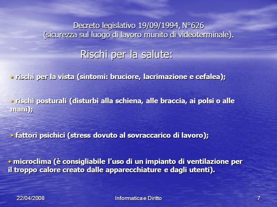 22/04/2008Informatica e Diritto7 Decreto legislativo 19/09/1994, N°626 (sicurezza sul luogo di lavoro munito di videoterminale).