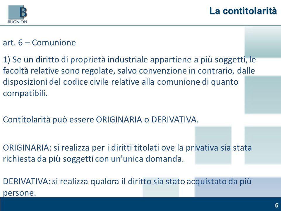 Corso Brand Naming – Modena, 30 marzo 2011 6 La contitolarità art.