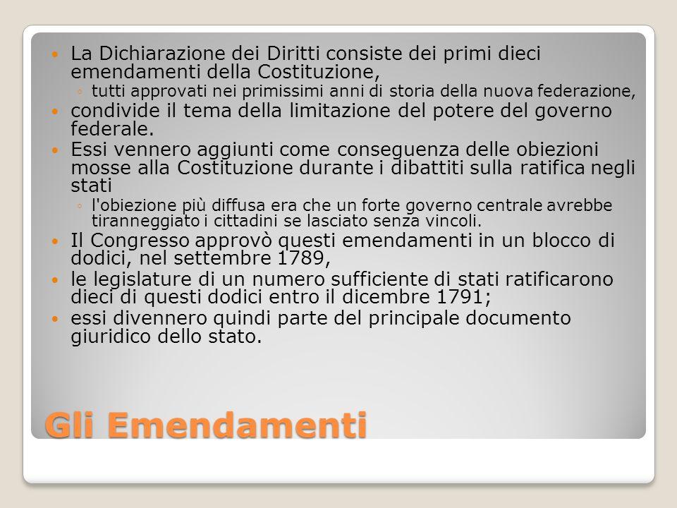 Gli Emendamenti La Dichiarazione dei Diritti consiste dei primi dieci emendamenti della Costituzione, tutti approvati nei primissimi anni di storia de