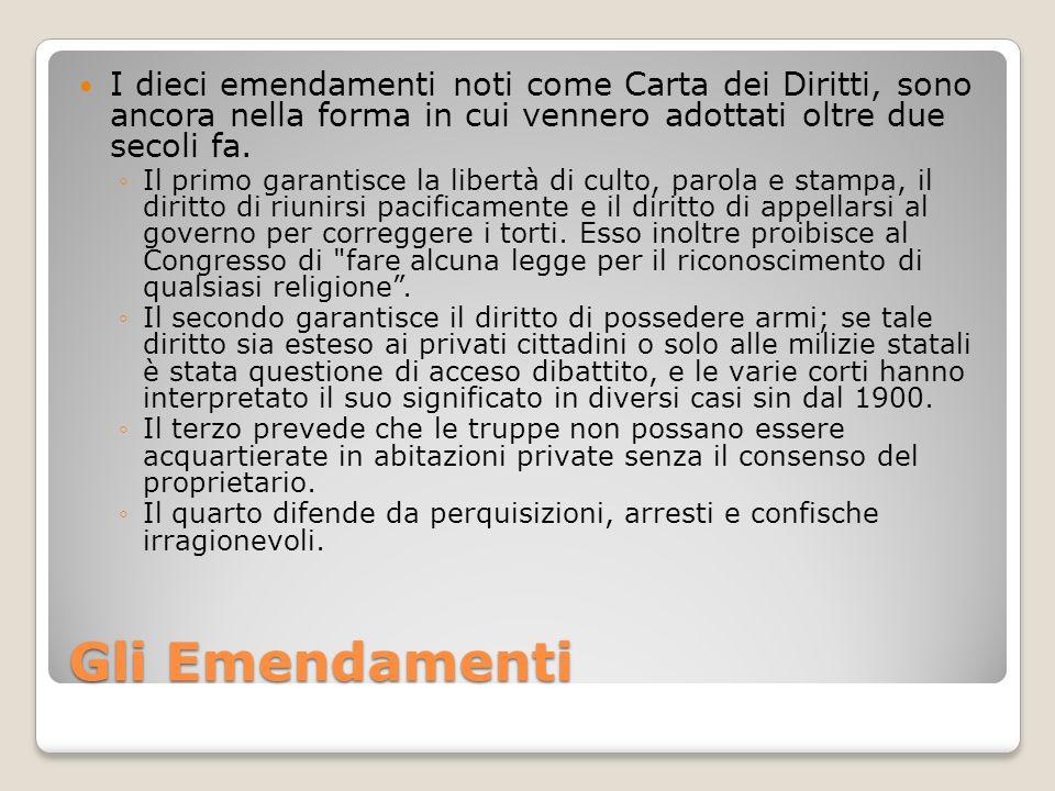 Gli Emendamenti I dieci emendamenti noti come Carta dei Diritti, sono ancora nella forma in cui vennero adottati oltre due secoli fa. Il primo garanti