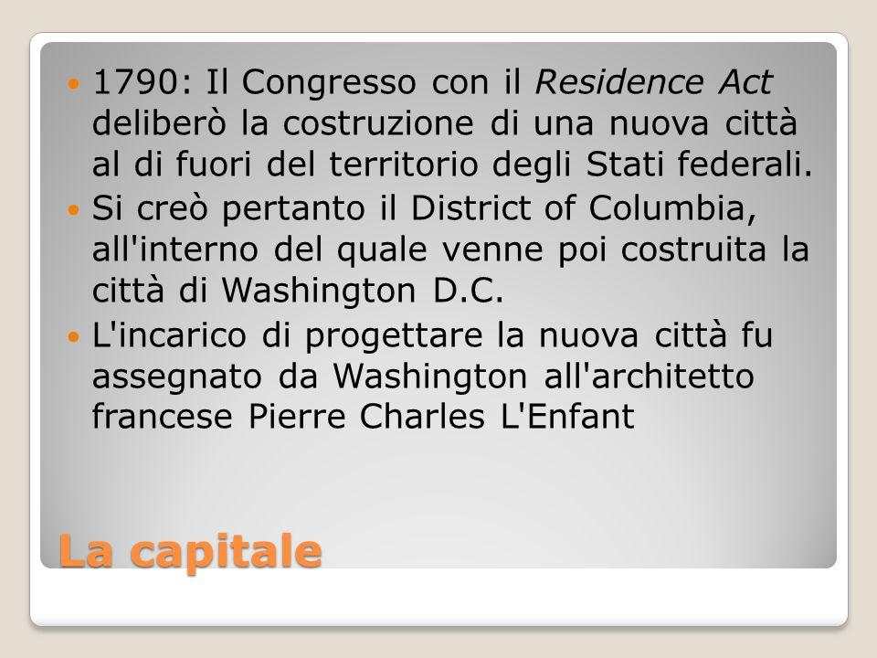 La capitale 1790: Il Congresso con il Residence Act deliberò la costruzione di una nuova città al di fuori del territorio degli Stati federali. Si cre