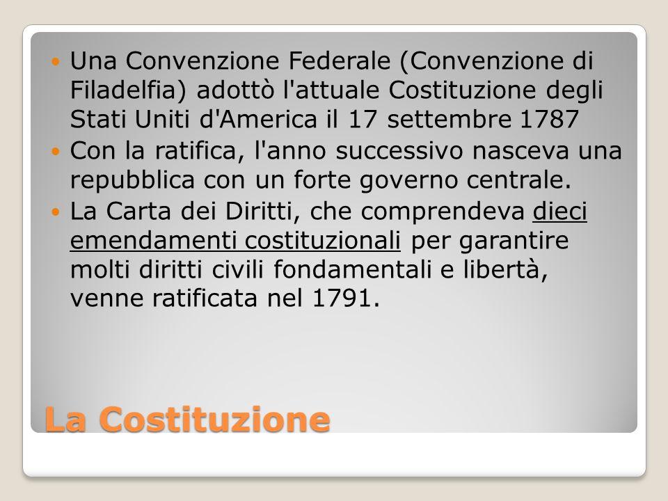 La Costituzione Una Convenzione Federale (Convenzione di Filadelfia) adottò l'attuale Costituzione degli Stati Uniti d'America il 17 settembre 1787 Co