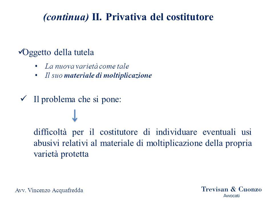 (continua) II.Privativa del costitutore La soluzione del problema (art.