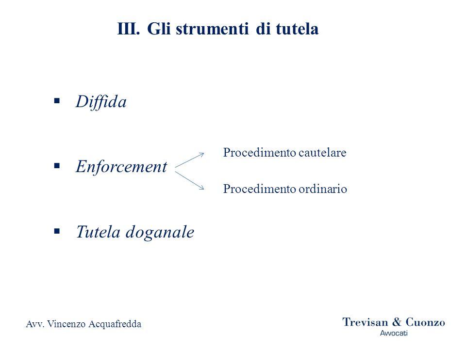 Diffida Enforcement Tutela doganale III. Gli strumenti di tutela Procedimento cautelare Procedimento ordinario Avv. Vincenzo Acquafredda