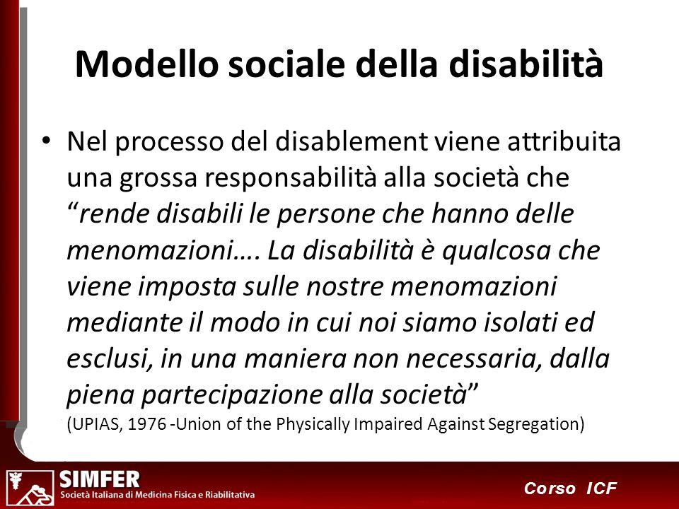11 Corso ICF Modello sociale della disabilità Nel processo del disablement viene attribuita una grossa responsabilità alla società cherende disabili l