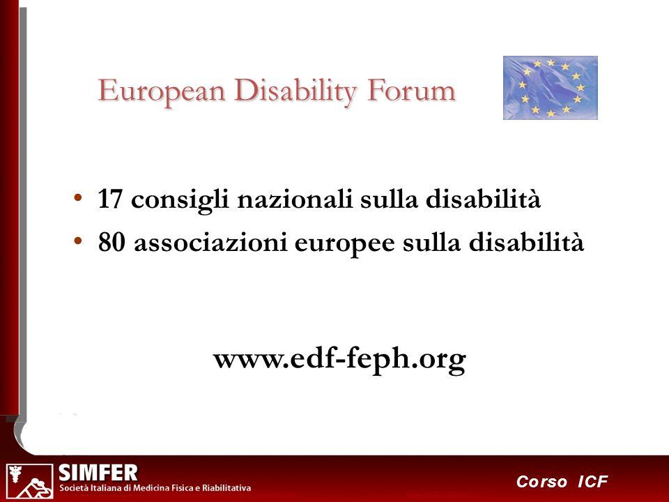 13 Corso ICF European Disability Forum 17 consigli nazionali sulla disabilità 80 associazioni europee sulla disabilità www.edf-feph.org