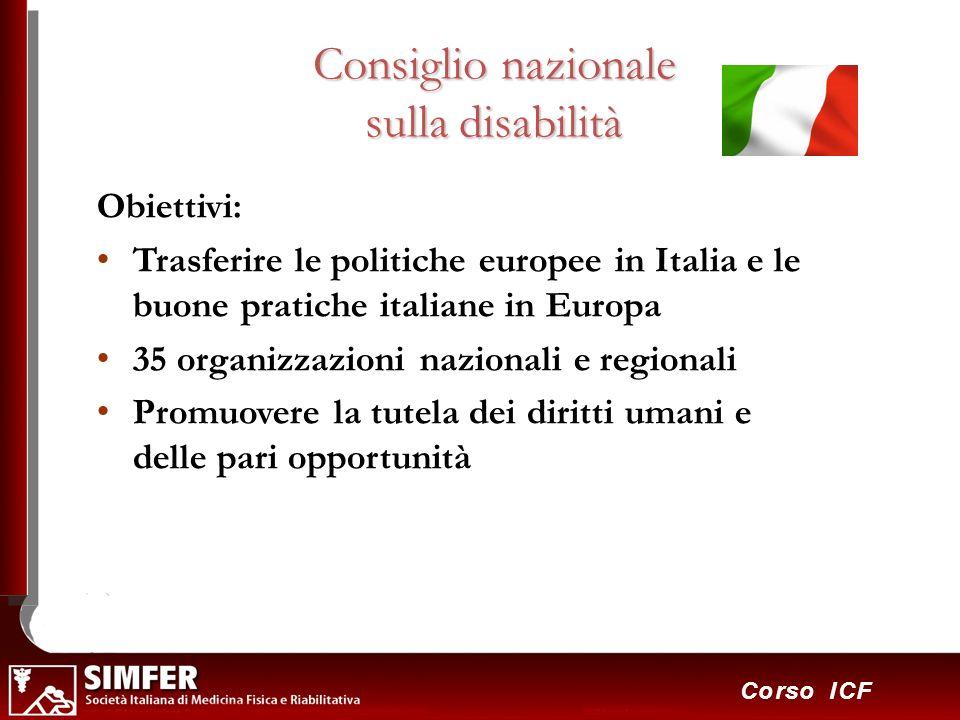 14 Corso ICF Consiglio nazionale sulla disabilità Obiettivi: Trasferire le politiche europee in Italia e le buone pratiche italiane in Europa 35 organ