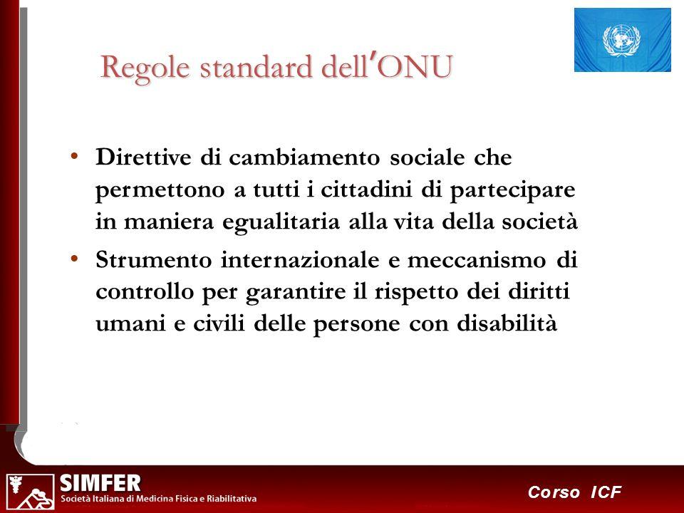 15 Corso ICF Regole standard dellONU Direttive di cambiamento sociale che permettono a tutti i cittadini di partecipare in maniera egualitaria alla vi