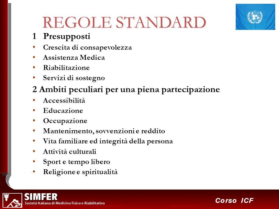 16 Corso ICF REGOLE STANDARD 1 Presupposti Crescita di consapevolezza Assistenza Medica Riabilitazione Servizi di sostegno 2 Ambiti peculiari per una
