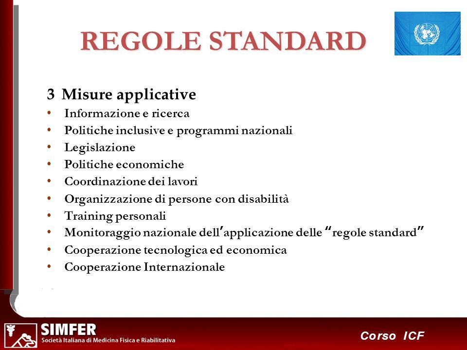 17 Corso ICF REGOLE STANDARD 3 Misure applicative Informazione e ricerca Politiche inclusive e programmi nazionali Legislazione Politiche economiche C