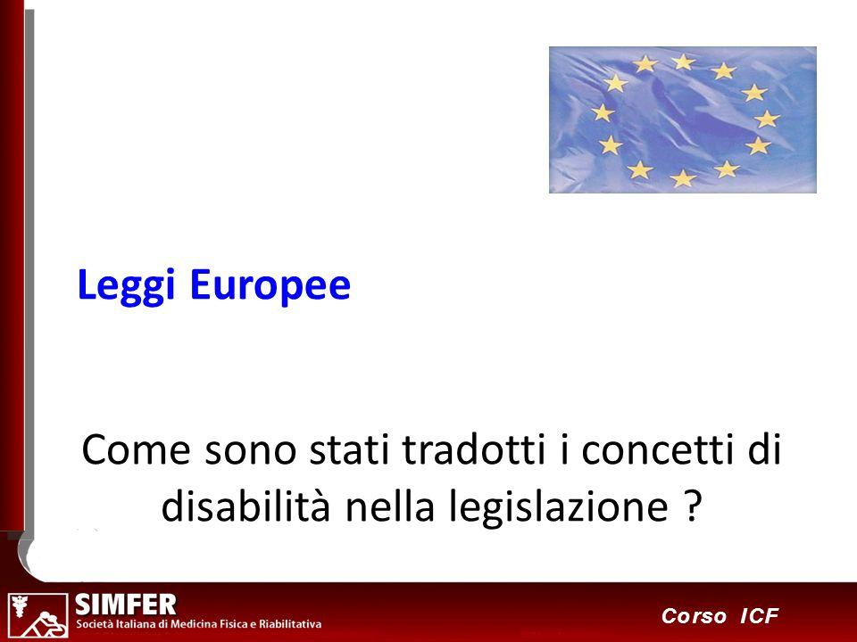 20 Corso ICF Come sono stati tradotti i concetti di disabilità nella legislazione ? Leggi Europee