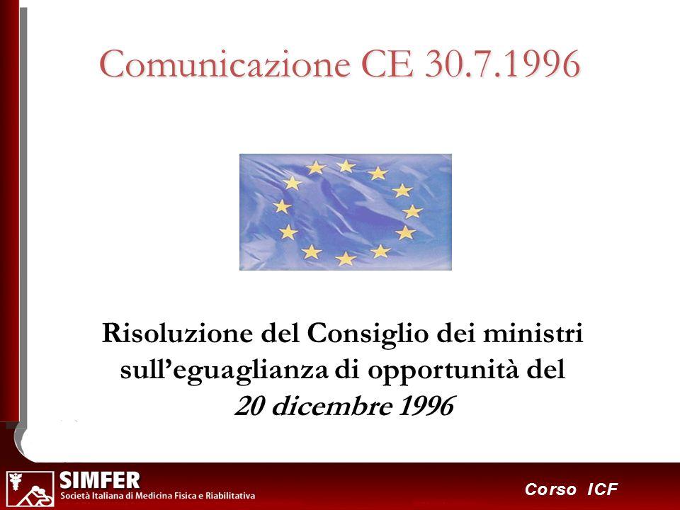 21 Corso ICF Comunicazione CE 30.7.1996 Risoluzione del Consiglio dei ministri sulleguaglianza di opportunità del 20 dicembre 1996