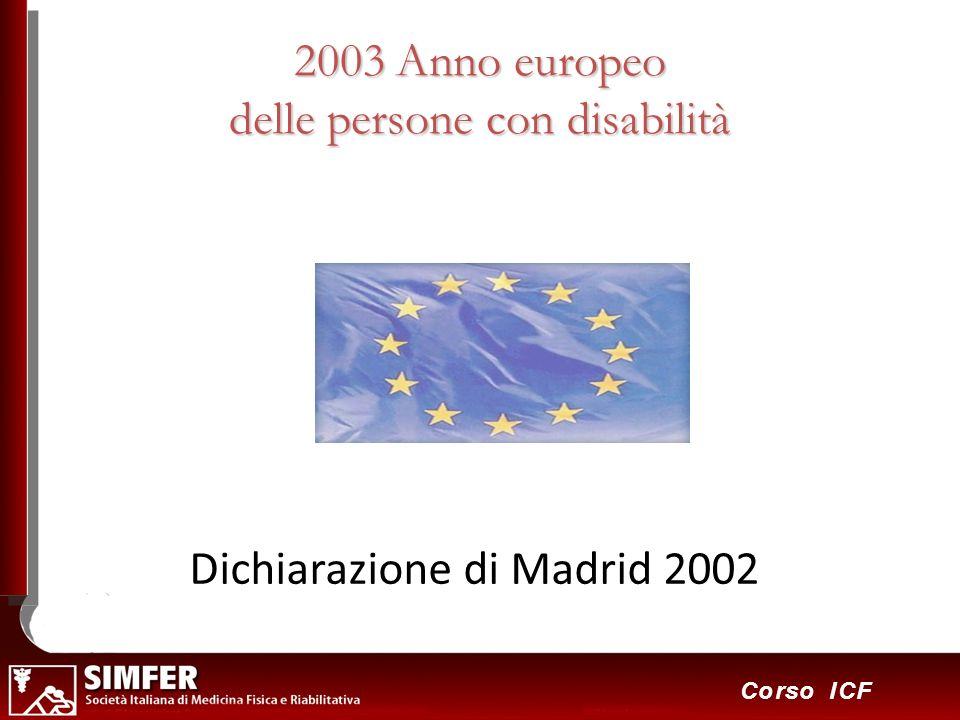 24 Corso ICF 2003 Anno europeo delle persone con disabilità Dichiarazione di Madrid 2002