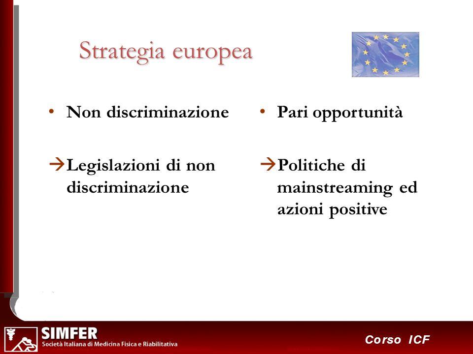 27 Corso ICF Strategia europea Non discriminazione Legislazioni di non discriminazione Pari opportunità Politiche di mainstreaming ed azioni positive