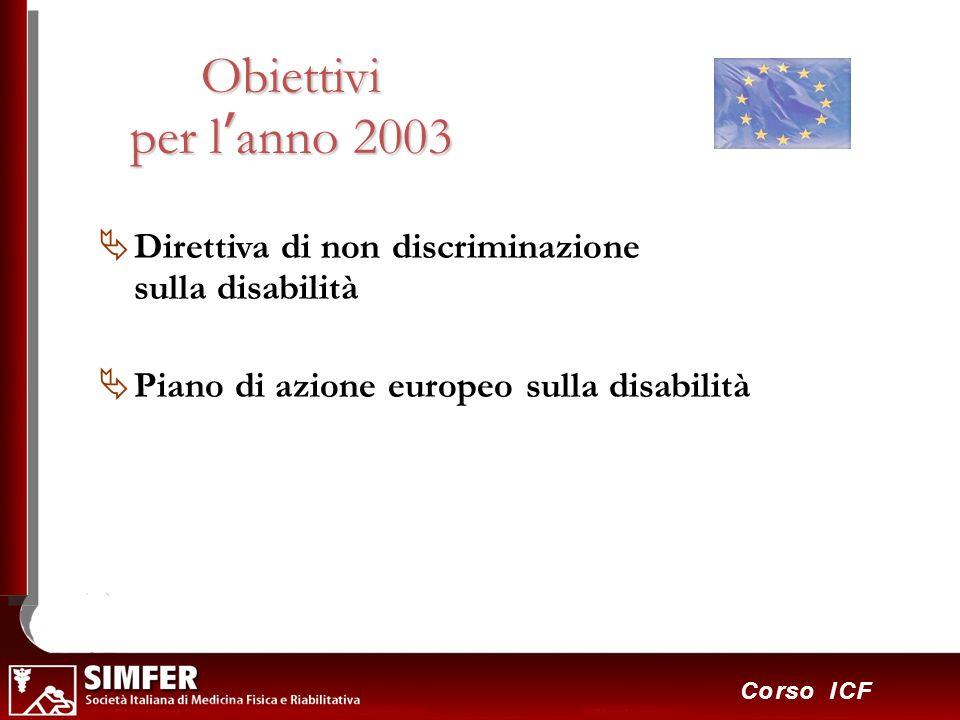 29 Corso ICF Obiettivi per lanno 2003 Direttiva di non discriminazione sulla disabilità Piano di azione europeo sulla disabilità