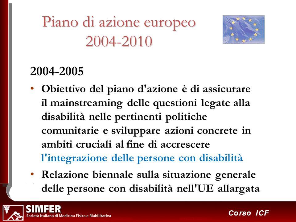 30 Corso ICF Piano di azione europeo 2004-2010 2004-2005 Obiettivo del piano d'azione è di assicurare il mainstreaming delle questioni legate alla dis