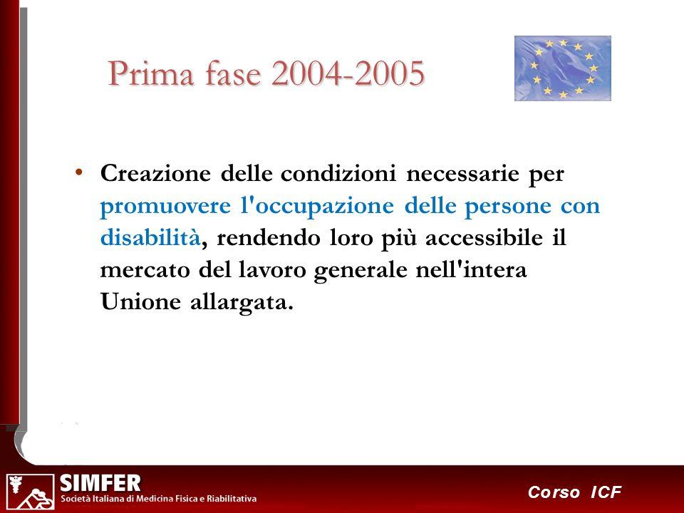 31 Corso ICF Prima fase 2004-2005 Creazione delle condizioni necessarie per promuovere l'occupazione delle persone con disabilità, rendendo loro più a