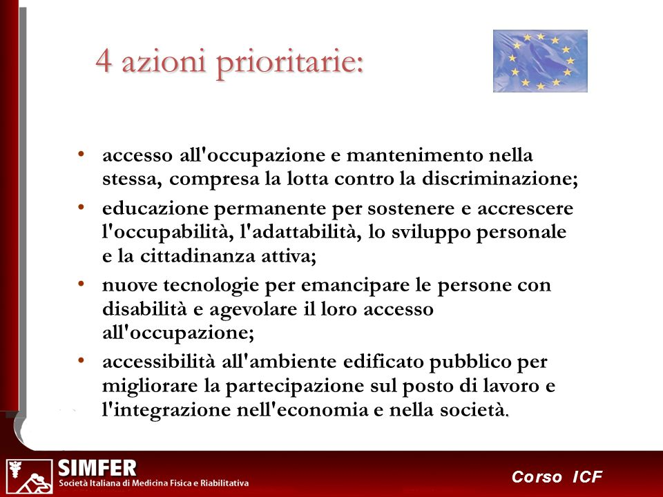 32 Corso ICF 4 azioni prioritarie: accesso all'occupazione e mantenimento nella stessa, compresa la lotta contro la discriminazione; educazione perman