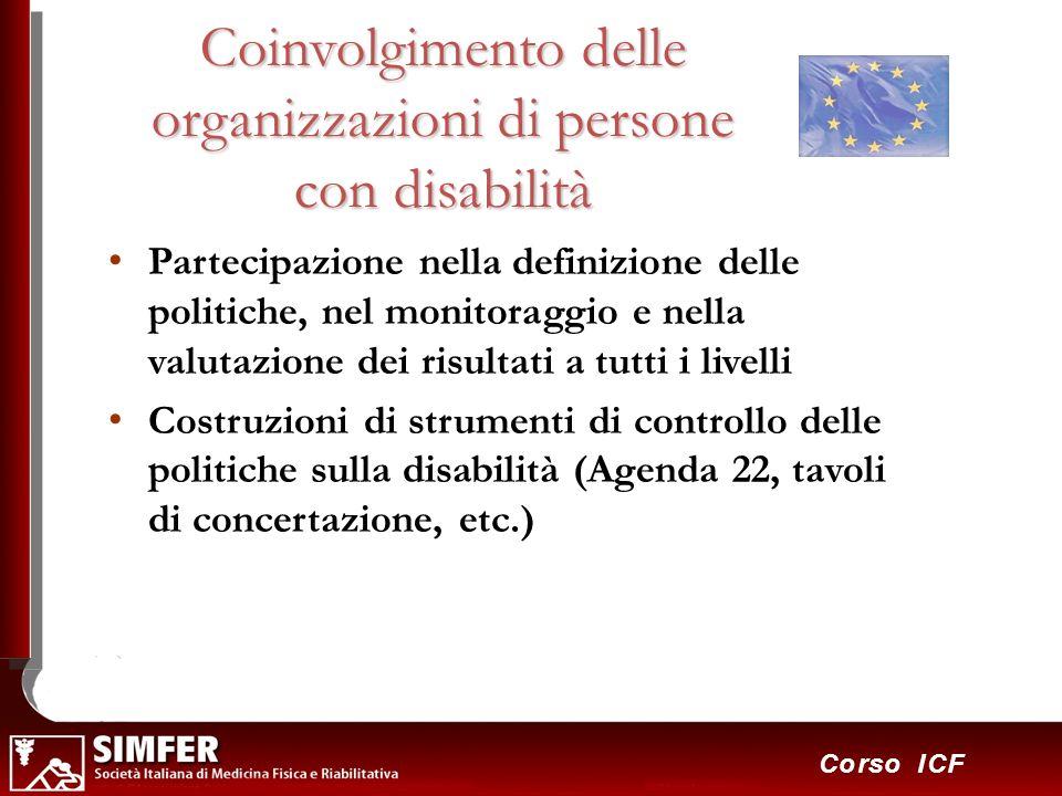 34 Corso ICF Coinvolgimento delle organizzazioni di persone con disabilità Partecipazione nella definizione delle politiche, nel monitoraggio e nella