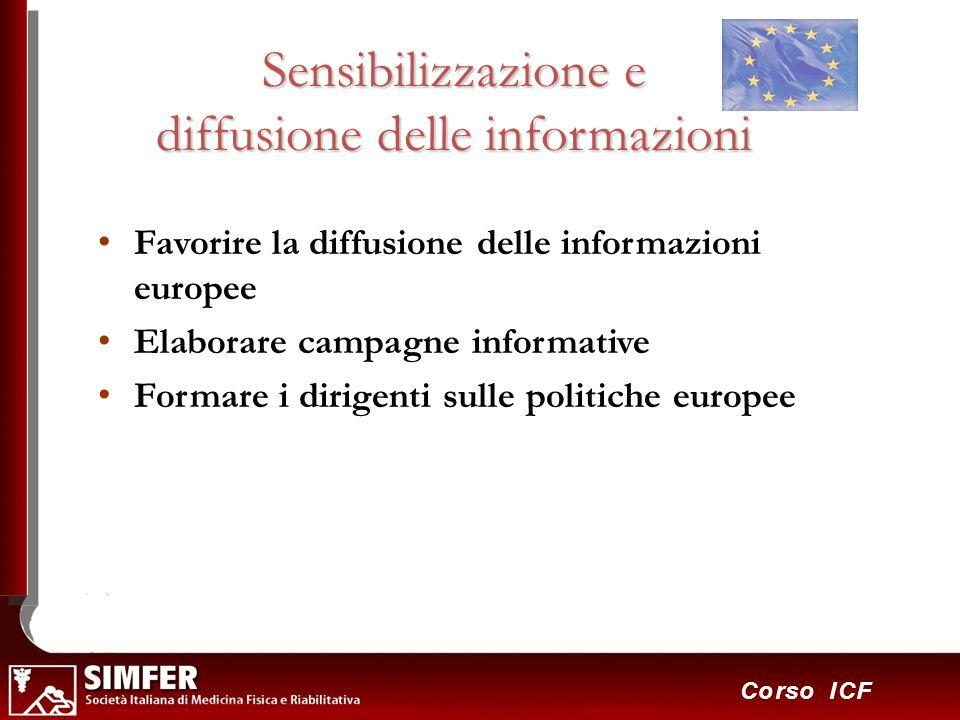35 Corso ICF Sensibilizzazione e diffusione delle informazioni Favorire la diffusione delle informazioni europee Elaborare campagne informative Formar