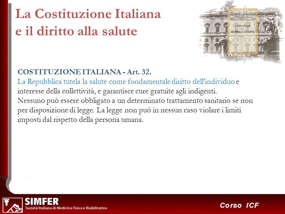 37 Corso ICF La Costituzione Italiana e il diritto alla salute COSTITUZIONE ITALIANA - Art. 32. La Repubblica tutela la salute come fondamentale dirit