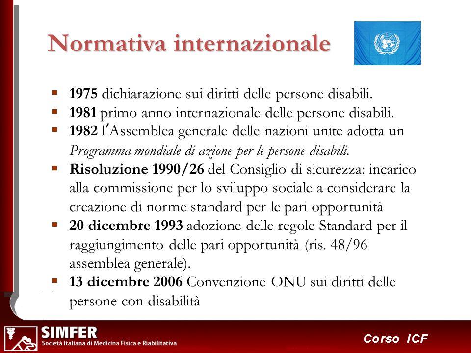 38 Corso ICF 1975 dichiarazione sui diritti delle persone disabili. 1981 primo anno internazionale delle persone disabili. 1982 lAssemblea generale de