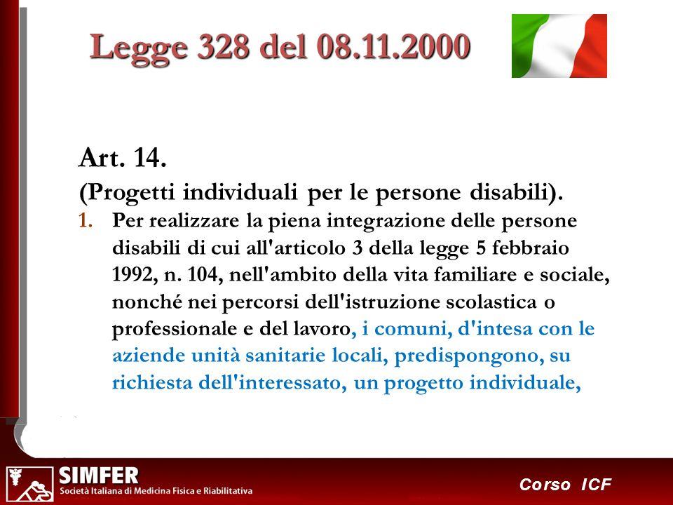 41 Corso ICF Art. 14. (Progetti individuali per le persone disabili). 1.Per realizzare la piena integrazione delle persone disabili di cui all'articol
