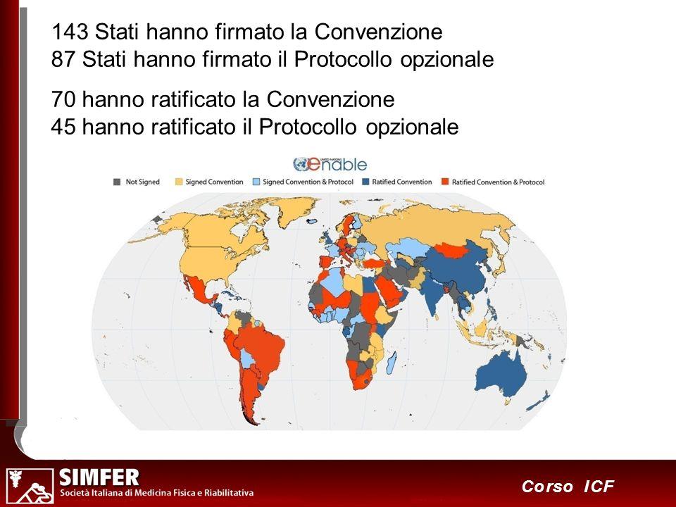 46 Corso ICF 143 Stati hanno firmato la Convenzione 87 Stati hanno firmato il Protocollo opzionale 70 hanno ratificato la Convenzione 45 hanno ratific