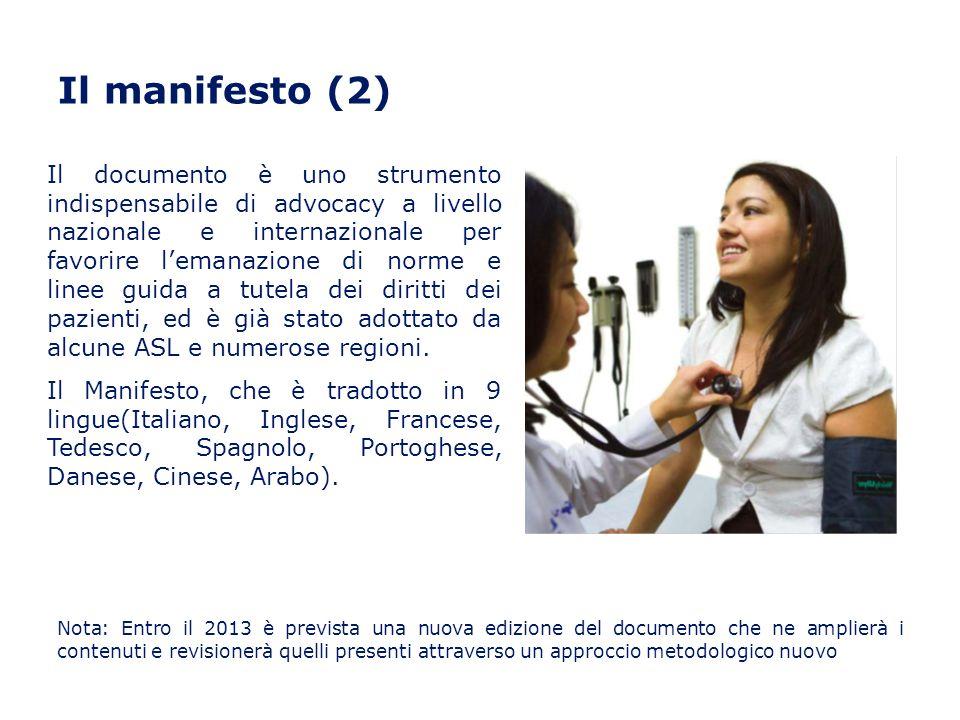 Il manifesto (2) Il documento è uno strumento indispensabile di advocacy a livello nazionale e internazionale per favorire lemanazione di norme e line