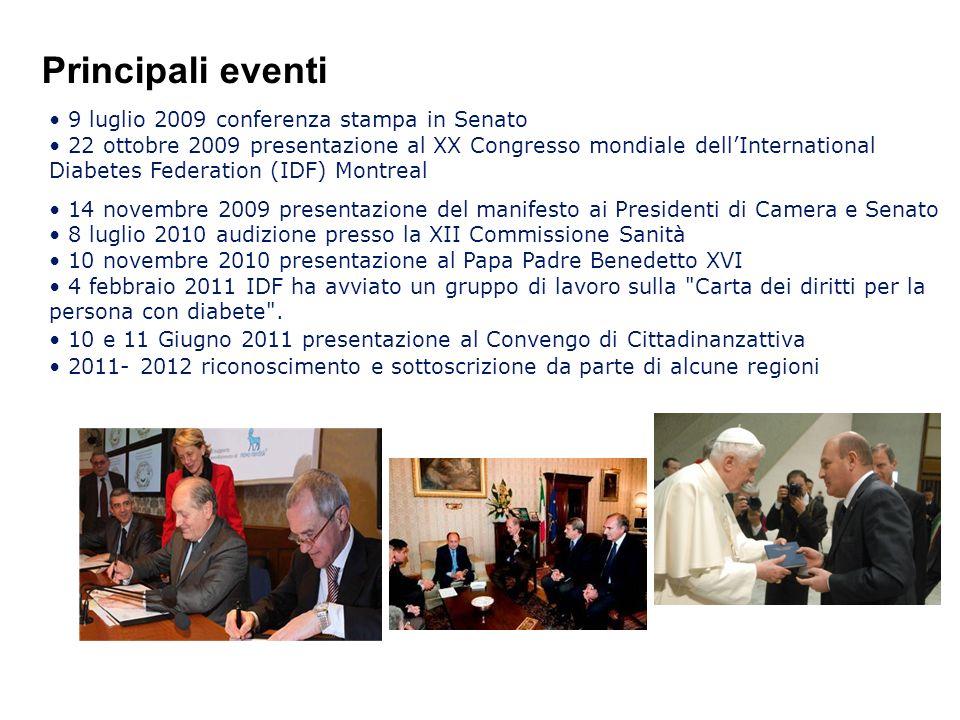 9 luglio 2009 conferenza stampa in Senato 22 ottobre 2009 presentazione al XX Congresso mondiale dellInternational Diabetes Federation (IDF) Montreal