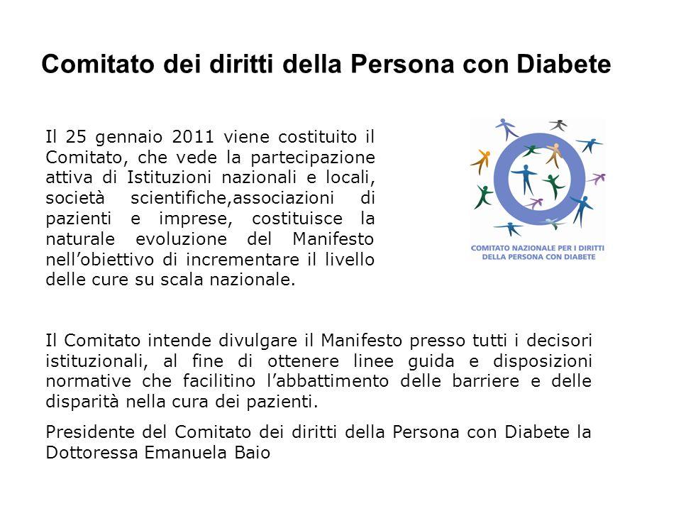 Comitato dei diritti della Persona con Diabete Il 25 gennaio 2011 viene costituito il Comitato, che vede la partecipazione attiva di Istituzioni nazio