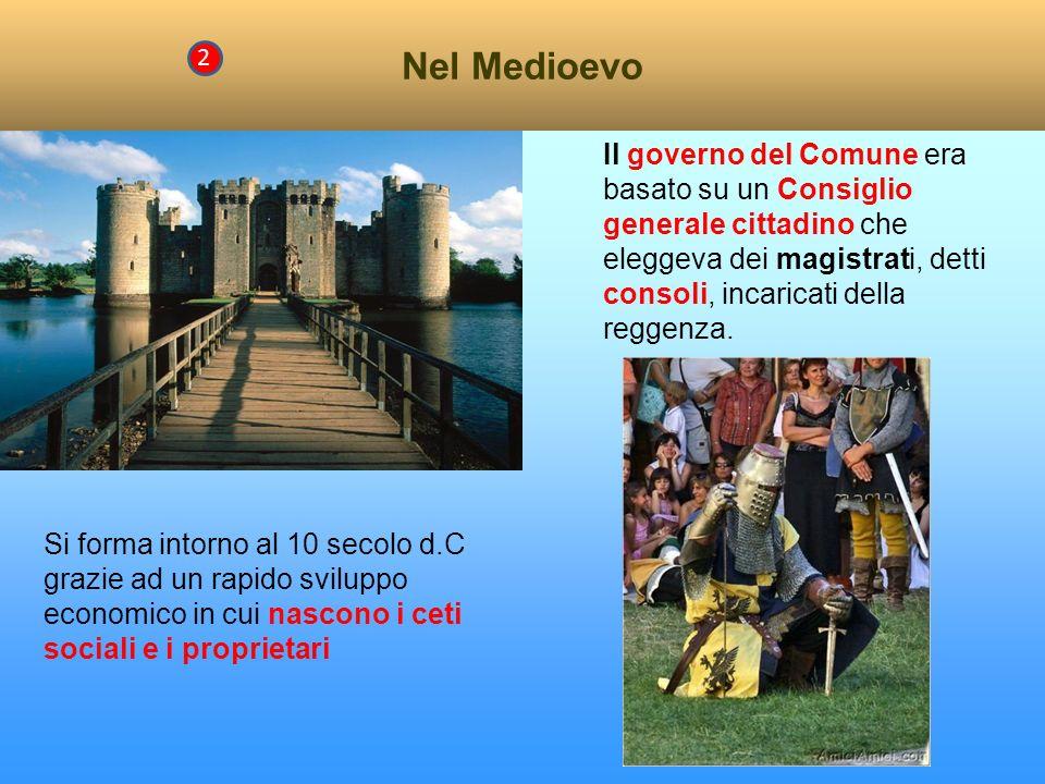 Nel Medioevo 2 Il governo del Comune era basato su un Consiglio generale cittadino che eleggeva dei magistrati, detti consoli, incaricati della reggenza.