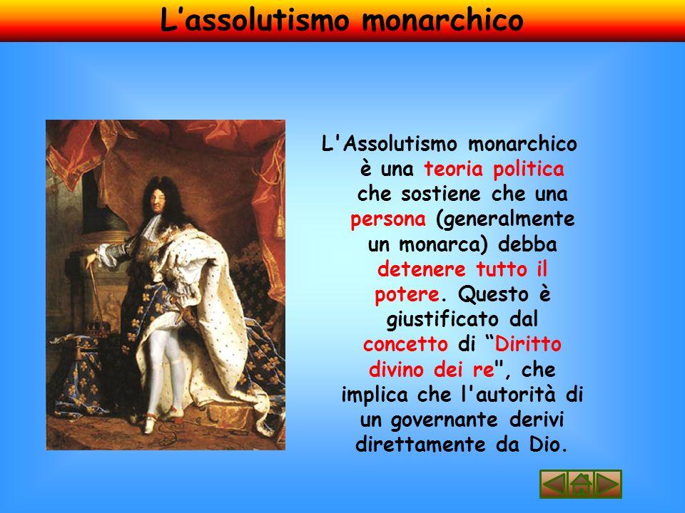 L Assolutismo monarchico è una teoria politica che sostiene che una persona (generalmente un monarca) debba detenere tutto il potere.