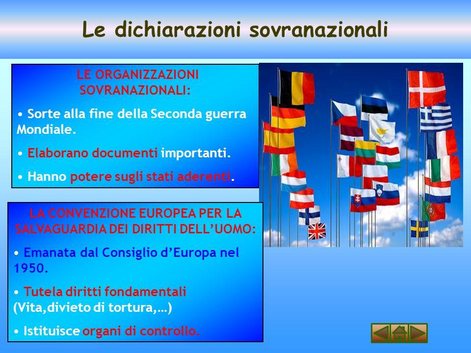 Le dichiarazioni sovranazionali LE ORGANIZZAZIONI SOVRANAZIONALI: Sorte alla fine della Seconda guerra Mondiale.