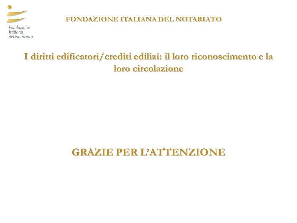 GRAZIE PER LATTENZIONE I diritti edificatori/crediti edilizi: il loro riconoscimento e la loro circolazione FONDAZIONE ITALIANA DEL NOTARIATO