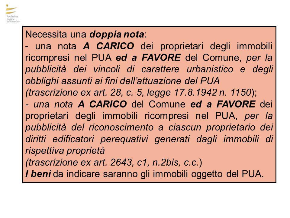 Necessita una doppia nota: - una nota A CARICO dei proprietari degli immobili ricompresi nel PUA ed a FAVORE del Comune, per la pubblicità dei vincoli
