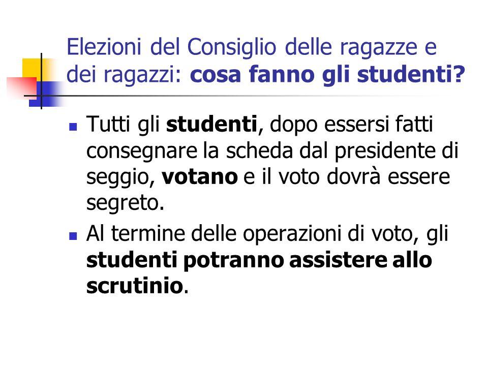 Elezioni del Consiglio delle ragazze e dei ragazzi: cosa fanno gli studenti? Tutti gli studenti, dopo essersi fatti consegnare la scheda dal president