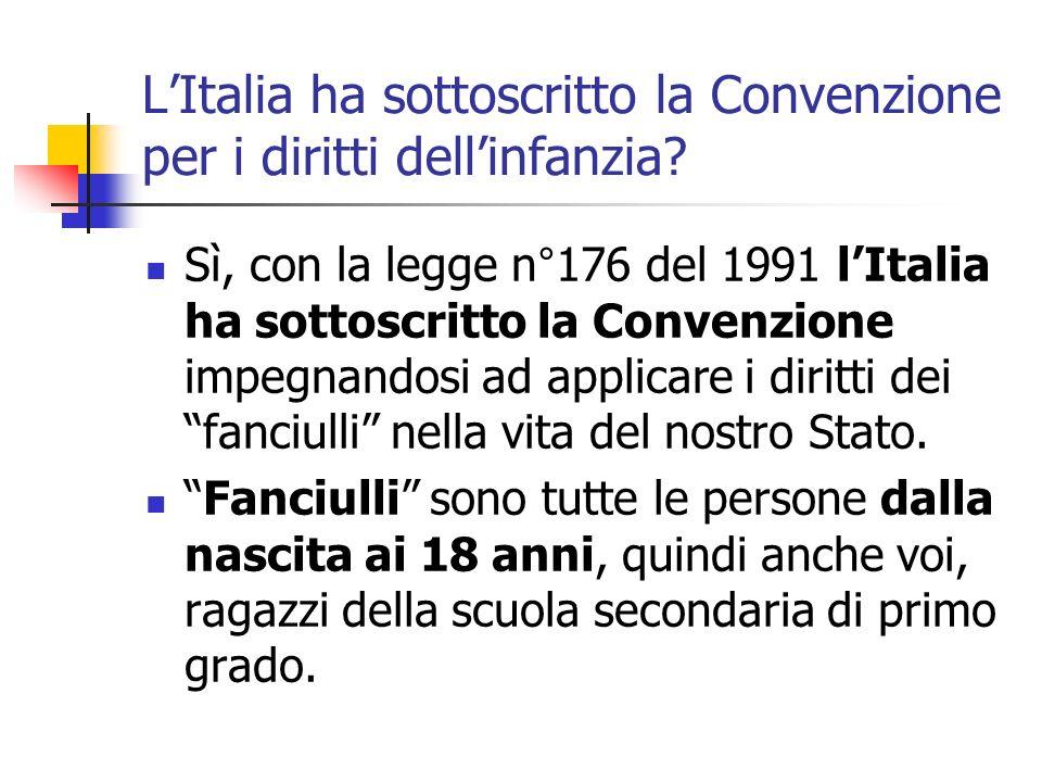 LItalia ha sottoscritto la Convenzione per i diritti dellinfanzia? Sì, con la legge n°176 del 1991 lItalia ha sottoscritto la Convenzione impegnandosi