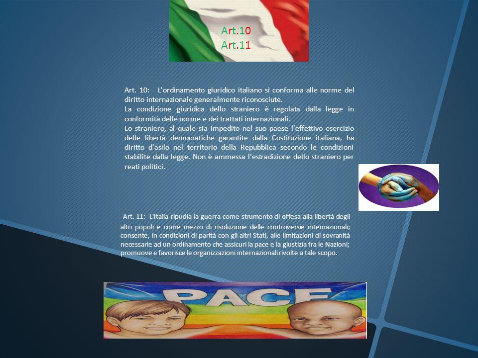 Art.10Art.11Art.10Art.11 Art. 10: L'ordinamento giuridico italiano si conforma alle norme del diritto internazionale generalmente riconosciute. La con