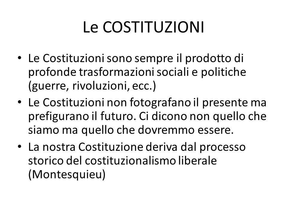 Le COSTITUZIONI Sono il prodotto storico dellevoluzione politica delle nostre società.