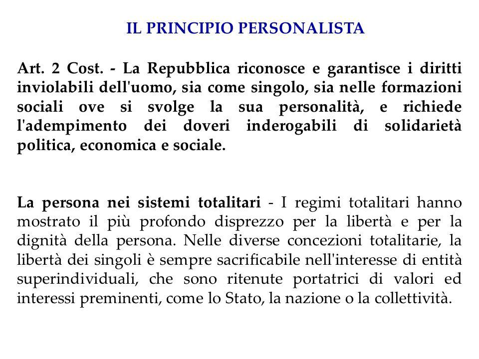 ARTICOLO 2 La Repubblica riconosce e garantisce i diritti inviolabili dell uomo, sia come singolo sia nelle formazioni sociali ove si svolge la sua personalit à, e richiede l adempimento dei doveri inderogabili di solidariet à politica, economica e sociale.